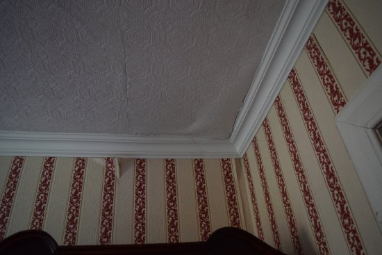 Golspie Inn: peeling paper from wall and ceiling in bedroom