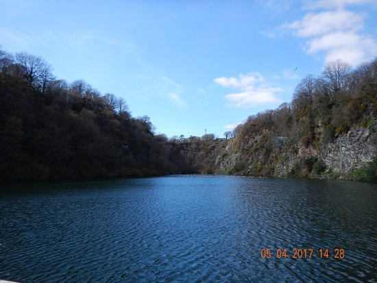 Menheniot, UK : A lower view of the zip wire