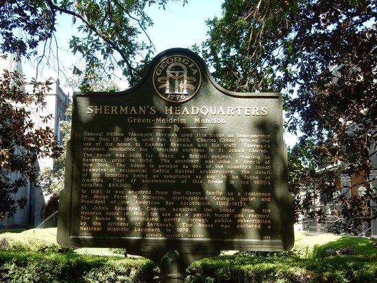 Savannah Walks: Sherman's headquarters sign (see next pic)