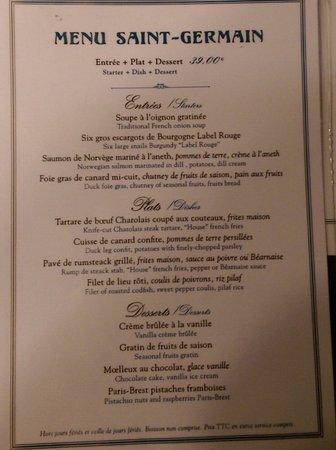 Le Petit Zinc : Fix price menu, 39 euro side. 29 available