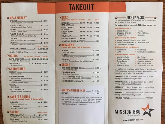 Makes a texas heart sing review of mission bbq for Take out menu