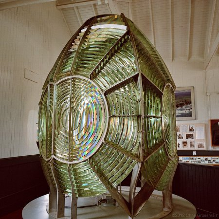 Point Arena, CA: The First Order Fresnel lens greets visitors to the Museum