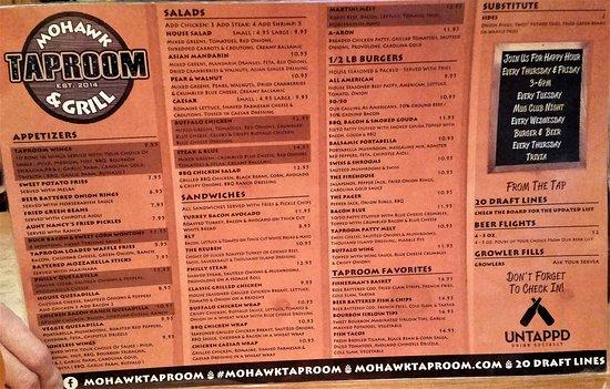 Scotia, NY: Sample menu April, 2017.