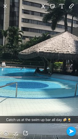 Hilton Colon Guayaquil: The beautiful pool and swim up bar. Wear sunscreen!