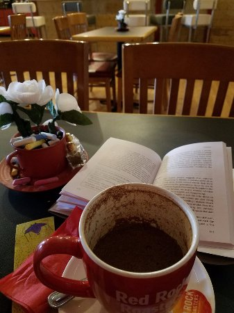 Espanola, NM: Coffee and a good book.  It was a good afternoon.