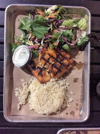 Cajun salmon with rice and salad picture of california for California fish grill locations