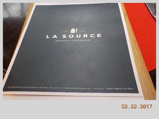 La Source: Menu