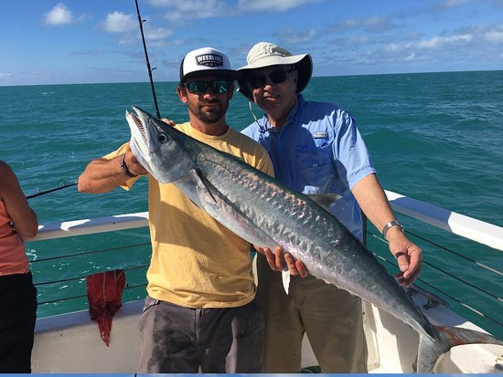 Tortuga IV Party Boat: Mate and Me with Big Kingfish caught by me on Tortuga IV.
