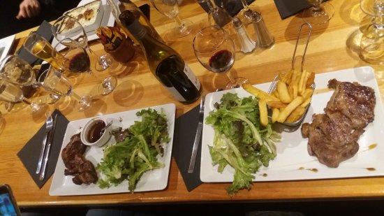 La Marmotte: duck on left, beef on right