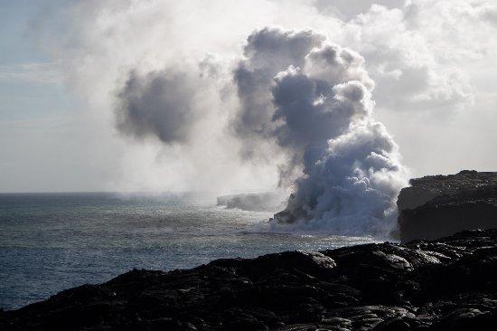 Native Hawaiian Lava : Steam plume