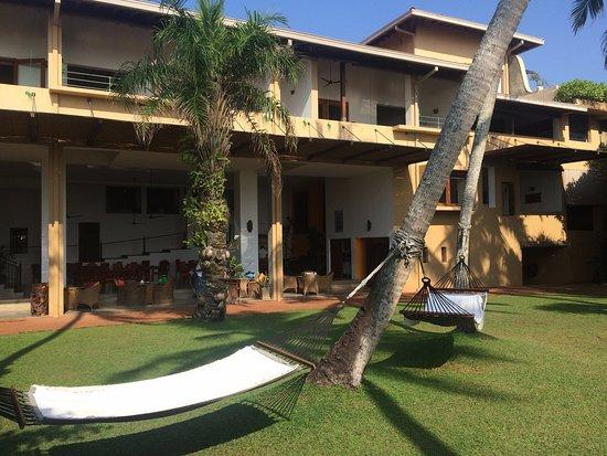 Aditya Resort back garden looking from the beach toward the hotel