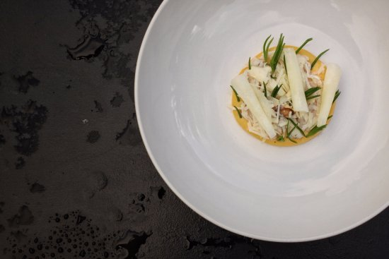 Waverley, Australia: Mud crab, egg, sea spray, kohlrabi