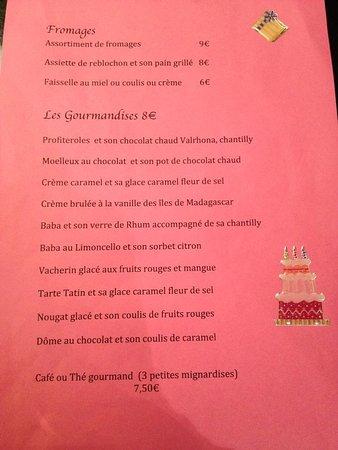 Brasserie Alsacienne La Table Gourmande : la carte des desserts