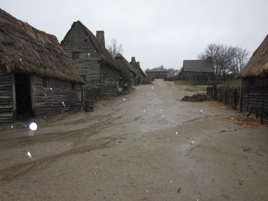 Plimoth Plantation: The village area (rainy day)