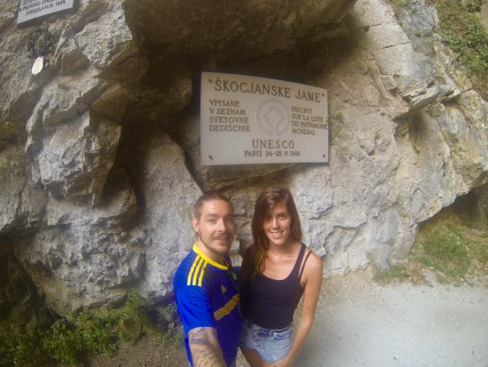 Skocjan, Slovenia: At the end of the tour in front of the UNESCO plaque