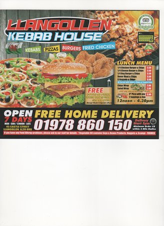 Our New Menu Picture Of Llangollen Kebab Pizza Palace