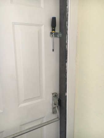 The Historic Peninsula Inn: Screw driver holding door shut. Very easy to make this & Door in our suite. Exit sign and screw driver holding door shut ... Pezcame.Com