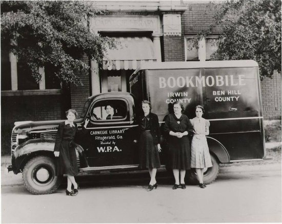 Carnegie Center Gallery: Depression Era Bookmobile sponsored by WPA.