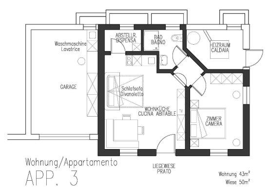Attractive Ferienwohnungen Auhaus: Grundriss Wohnung APP. 3