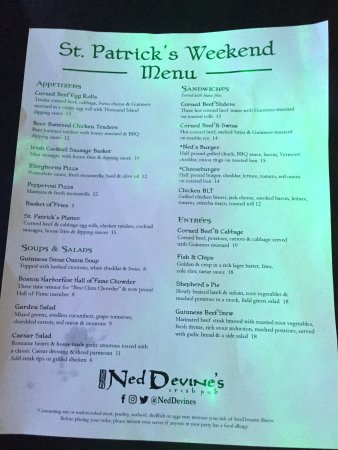 Ned Devines Faneuil Hall: Special menu
