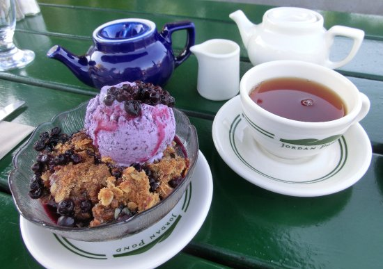 Blueberry Crisp And Tea Served At The Jordan Pond House, Seal Harbor, Maine