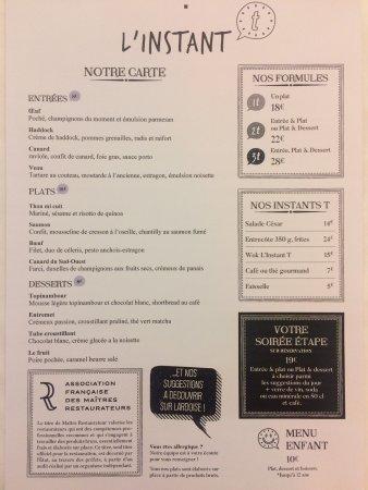 La carte des vins et du repas.