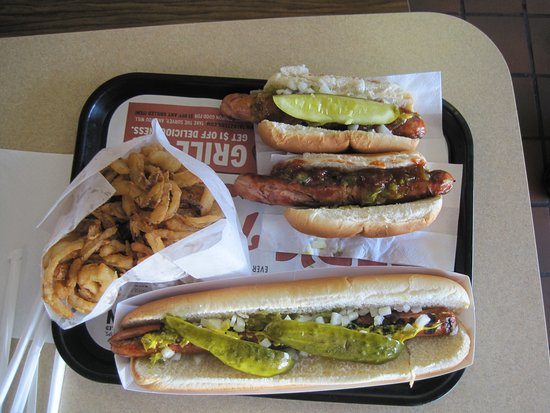 Tonawanda, NY: foot long hot dog, regular dog, and Italian sausage with onion rings