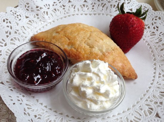 Yummy Scone With Clotted Cream And Jam - Wenham Tea House, Wenham, MA