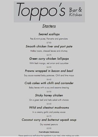 Littleborough, UK: Evening menu starters (From 13/04/2017)
