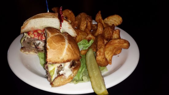The Pheasant - Blue Collar Bar and Grill: XXX Cheetoh Burger.. Hot & Crunchy