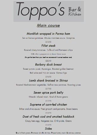 Littleborough, UK: Evening menu mains (From 13/04/2017)