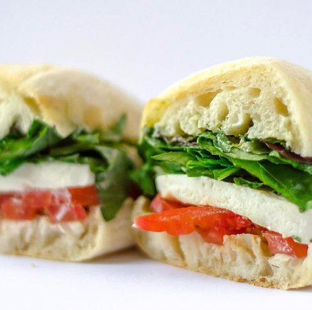 Flying Elephants at PDX: The Caprese sandwich is a popular choice for PDX travelers.