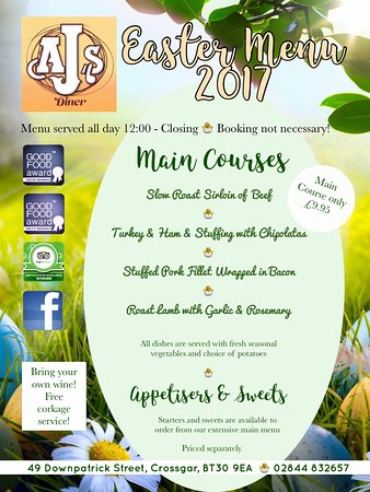 AJ's Diner: Easter Menu 2017 served Easter Sunday, Monday and Tuesday!