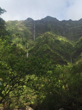 Lawai, Hawaje: Looking up the mountainside -- four waterfalls!