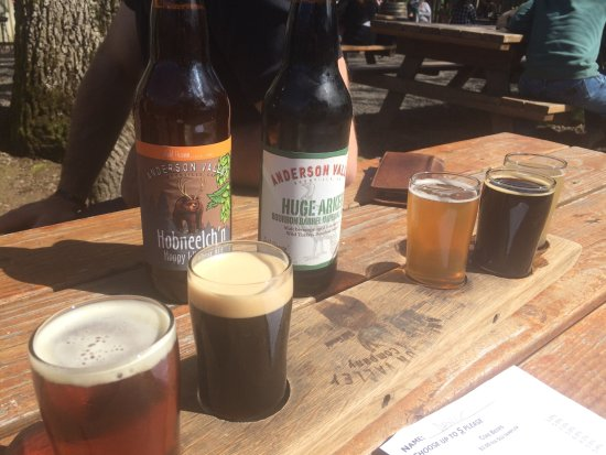 Boonville, CA: Our flight and a couple of our bottles to go.