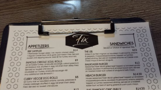 Cleveland Heights, OH: The FIX menu