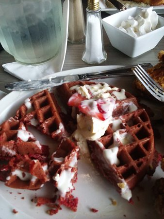 Southfield, MI: Sexy kitty red velvet waffle with fried whole chicken wings