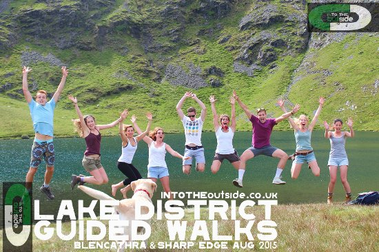 Kendal, UK: A Happy group at Scales Tarn, Blencathra.