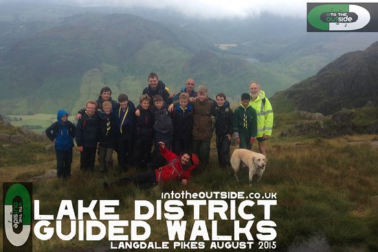 Kendal, UK: Happy Scouts on top of Pavey Ark, Langdale.