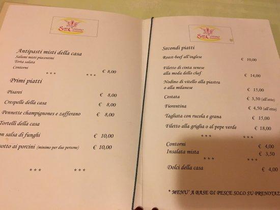 Santa Cristina e Bissone, Italy: Menù