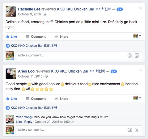 KKO KKO Chicken Bar: Reviews on facebook page