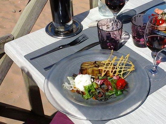 Le Grain de Sable : pressé de courgettes - aubergines et glace au Sainte Maure