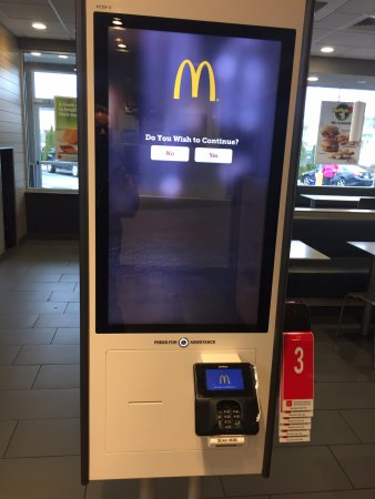 Plainfield, NJ: New self ordering kiosk. It takes people's jobs but it doesn't take cash.