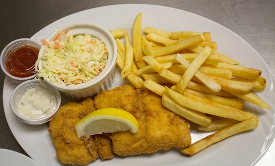 Franklin, MA: Yummy Fish & Chips with coleslaw