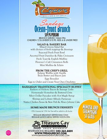 Treasure Cay, Great Abaco: Great Sunday Brunch at Coco Beach Bar & Grille