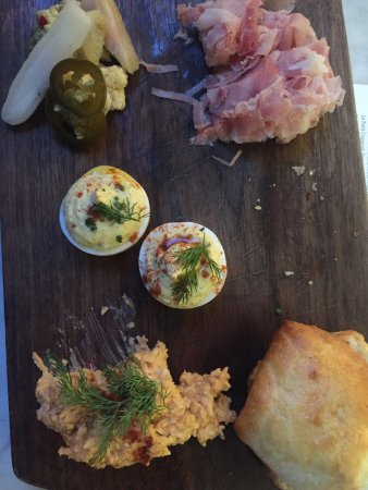 The Redneck Country Ham Pickles Deviled Eggs Pimento Cheese And Delicious Biscuits Picture Of Manuela Los Angeles Tripadvisor
