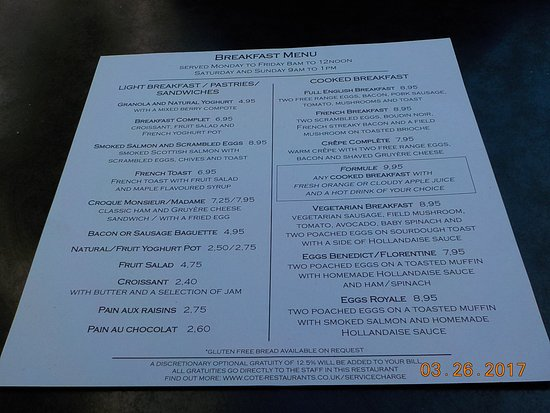 Cote Brasserie - St Pauls: Menu