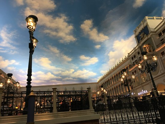 "Gondola Rides at the Venetian : The central square as the ""sun sets"" from the canal."