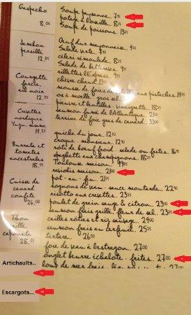 L'Express: menu (entrées changeantes)