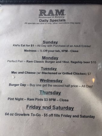 The Ram Restaurant & Brewery: Specials Cont.